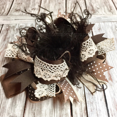 Fall Shabby Hair Bow with Lace, Big Brown Over the Top Bow Headband
