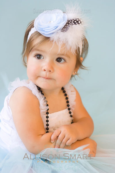Vintage Light Baby Blue Sadie White Feather Rhinestone Flower Clip or Girls Lace Headband
