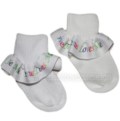 Jesus Loves Me Ruffle Ribbon Socks