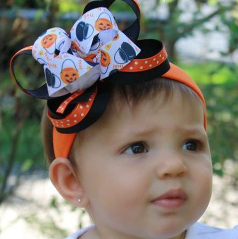 Halloween Baby Headband Trick or Treat, Halloween Hair Bow Clip Toddler Girl
