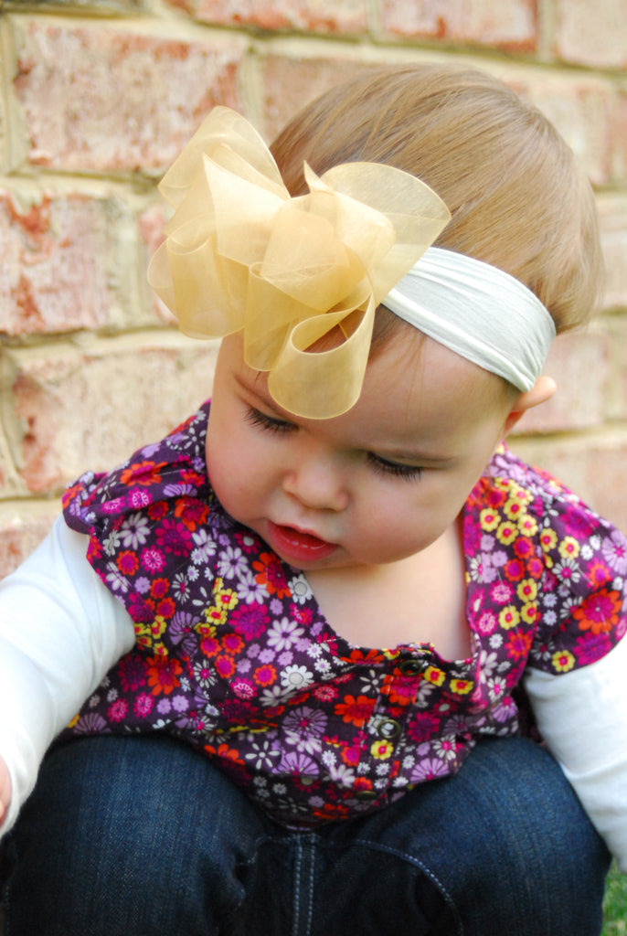 Gold Organza Hair Bow Headband, Sheer Gold Baby Headband Infant Toddler