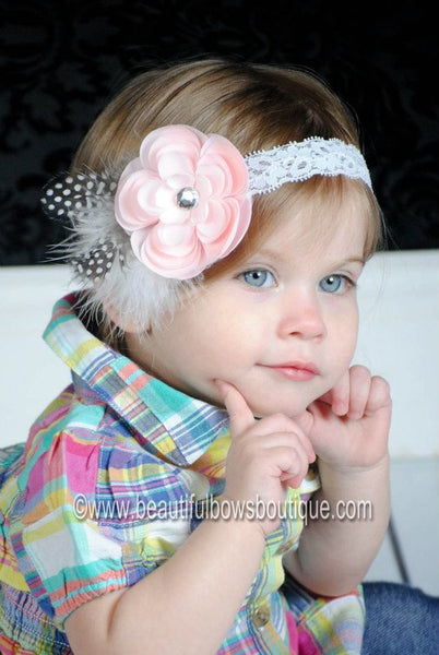 Buy Vintage Pale Pink Sadie Flower White Feather Clip or Girls Lace Headband Online