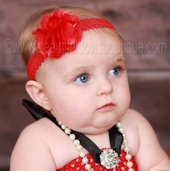 Lacey Red Bloom Bitty Flower Headband