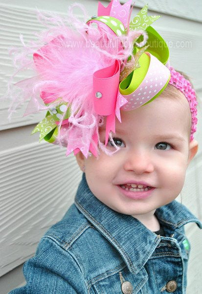 Buy Spring Lime Green, Hot Pink, and Light Pink Over the Top Girls Hair Bow Clip or Headband Online