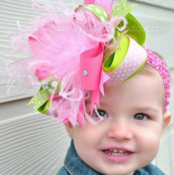 Spring Lime Green, Hot Pink, and Light Pink Over the Top Girls Hair Bow Clip or Headband