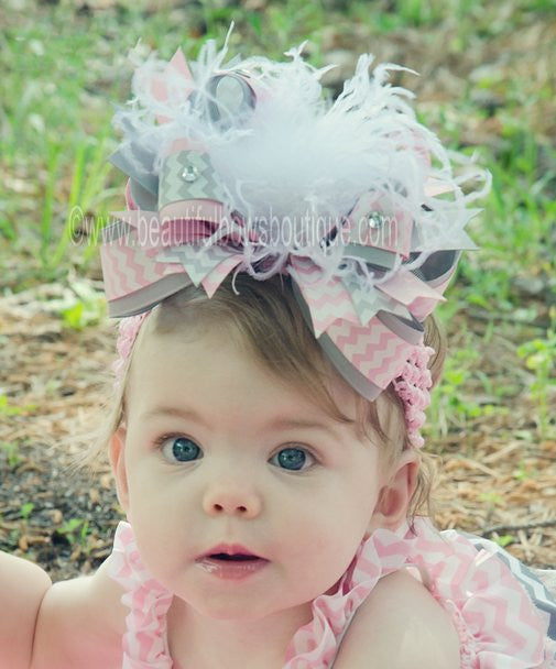 Buy Big Boutique Light Grey and Pink Chevron Over the Top Hair Bow Clip or Baby Headband Online