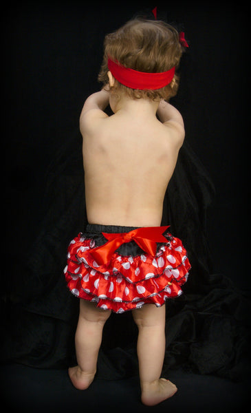 Girls Black & Red Polka Dot Minnie Ruffled Bloomers
