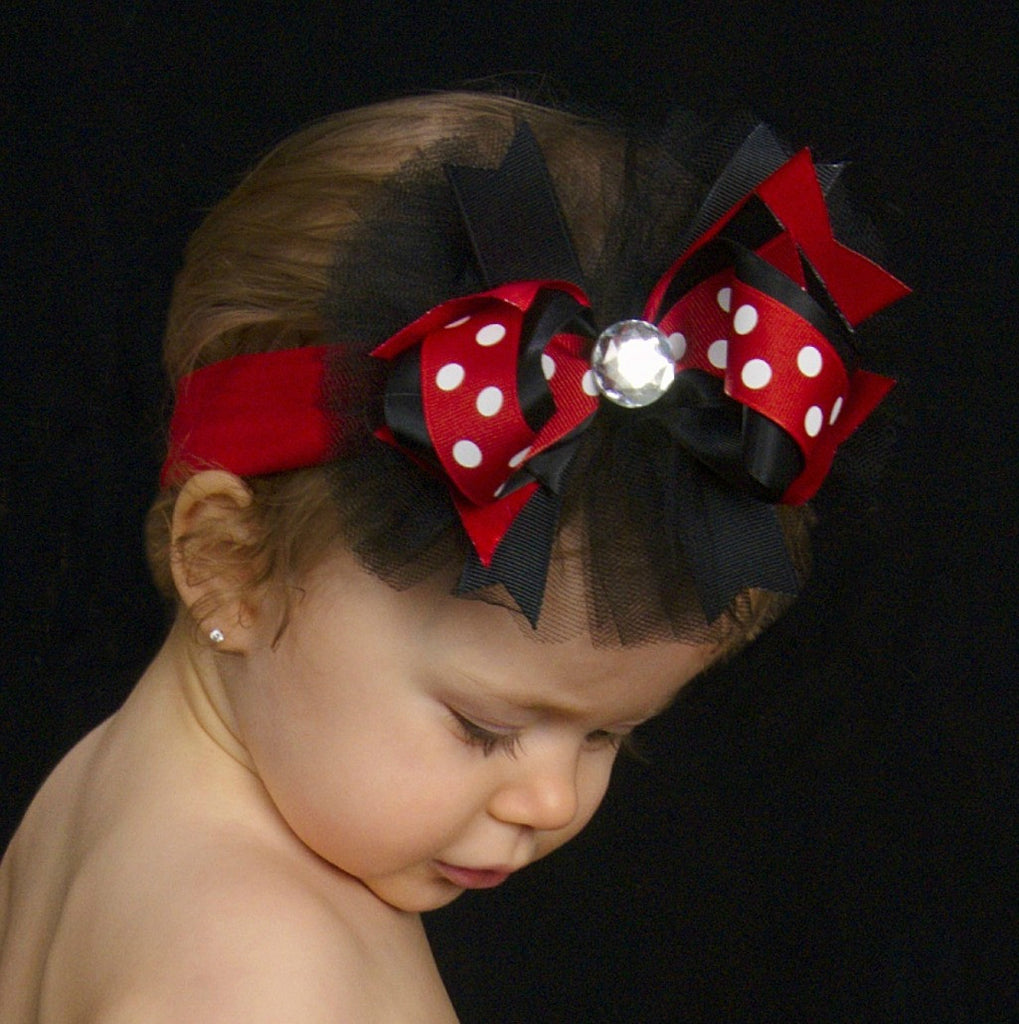 Buy Red and Black Polka Dot Tulle Hair Bow Online