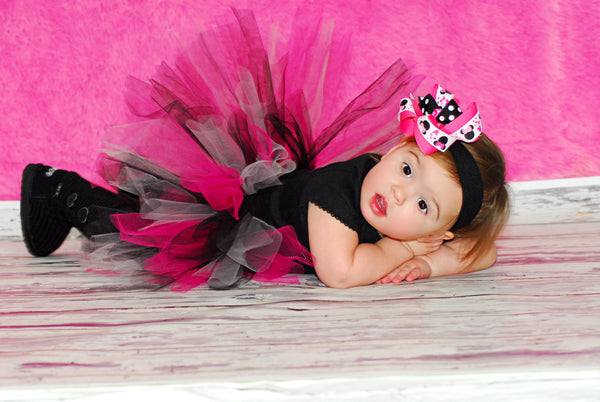 Hot Pink & Black Minnie Mouse Girls Hair Bow Clip or Headband