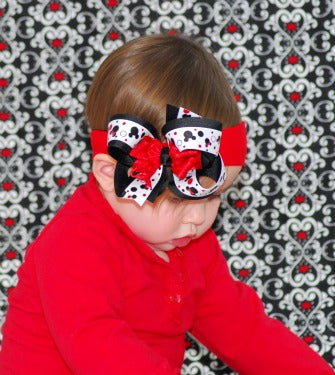 Minnie Mouse Red & Black Girls Hair Bow Clip or Headband