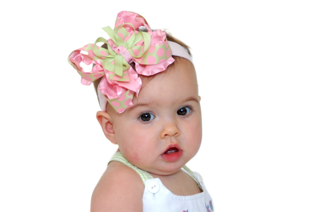 Pink and Mint Green Ruffle Girls Hair Clip or Baby Bow Headband