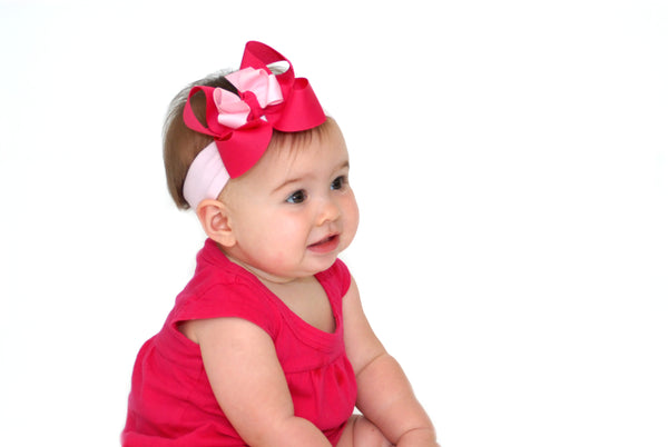 Two Toned Pink Grosgrain Hair Bow Clip or Headband-CHOOSE COLOR