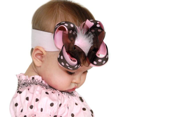 Brown and Pink Polka Marabou Hair Bow Clip or Headband