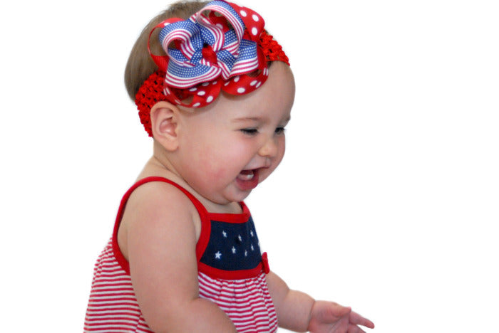 Buy Stars & Stripes Girls Hair Bow Clip Clip or Headband Online