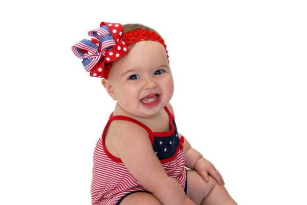 Stars & Stripes Girls Hair Bow Clip Clip or Headband