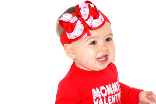 Red Hearts Valentines Hair Bow, Valentines Day Baby Headband