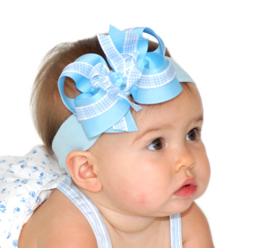 Blue Gingham Hair Bow Clip or Headband