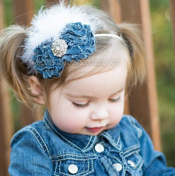 Mia Sparkle Denim Chiffon White flower Vintage Feather Flower Bitty Headband