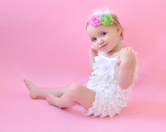 Hot Pink and Lime Green Shabby Flower Baby Headband, Fabric Flower Headband