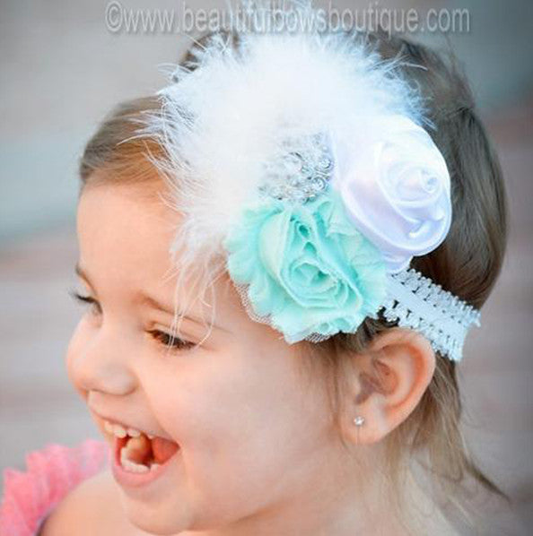 Mint Green and White Flower Headband,Shabby Chic Headband, Easter