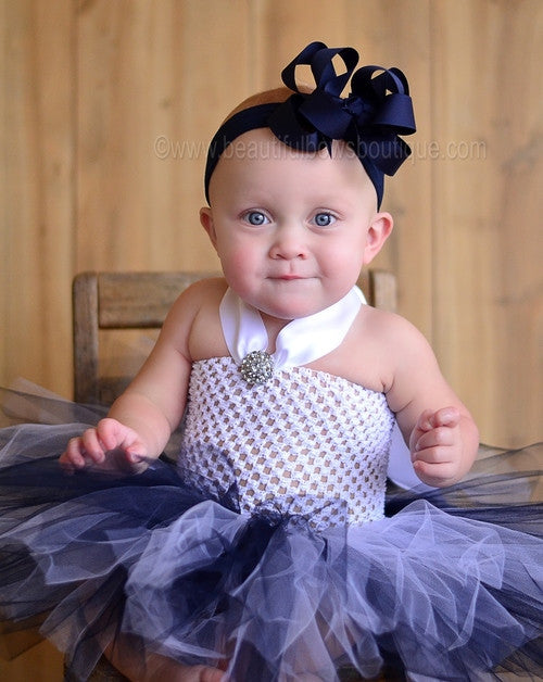 Fancy White and Navy Blue Tutu Dress