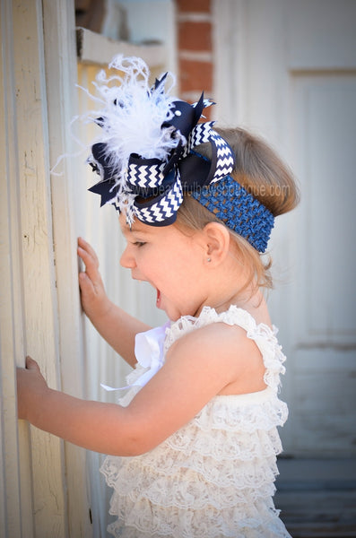 Chevron Navy Blue White Boutique Bow Headband, Navy and White Over the Top Bow