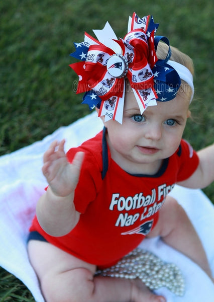 Buy New England Patriots Fancy Girls Hair Bow Clip or Headband Online