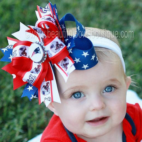 New England Patriots Fancy Girls Hair Bow Clip or Headband