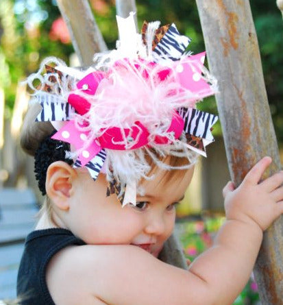 Safari Pink Zebra Leopard Girls Over the Top Hair Bow Clip or Headband, Infant, Toddler