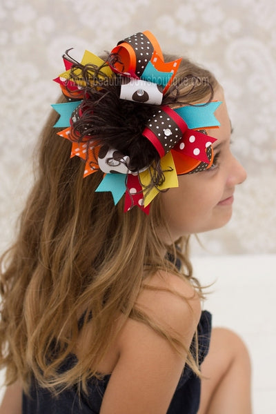 Autumn Fall Over the Top Hair Bow Clip, Baby Girl Fall Bows OTT