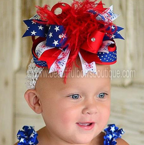 Holiday Over the Top Patriotic Fireworks Boutique Girls Hair Bow Clip or Headband