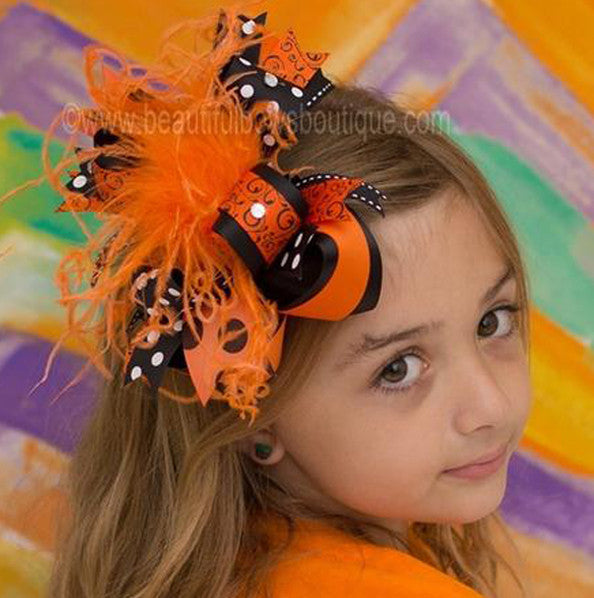 Over the Top Halloween Holiday Swirls Bengals Girls Hair Bow Clip or Headband