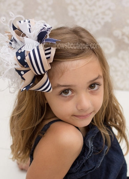 Buy Over the Top Khaki and Navy School Uniform Girls Hair Bow Clip or Headband Online