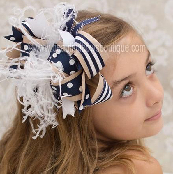 Over the Top Khaki and Navy School Uniform Girls Hair Bow Clip or Headband