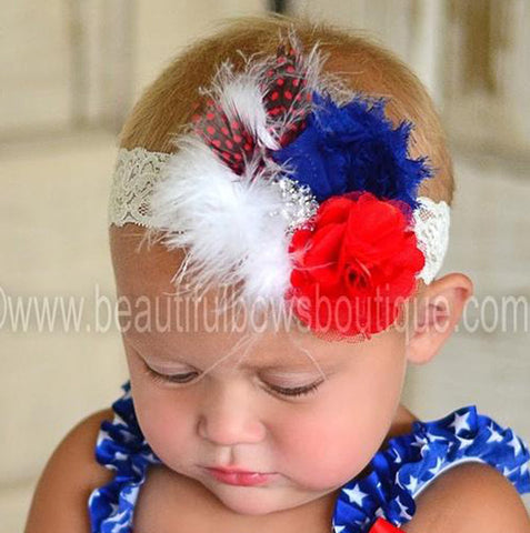 Patriotic Red White Blue Vintage Shabby Flower Girls Lace Headband