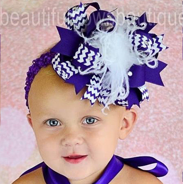 Purple and White Chevron Girls Over the Top Hair Bow Clip or Headband