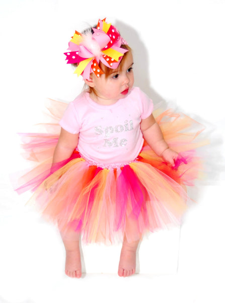Baby Tutu Pink Yellow Orange 1st Birthday Tutu
