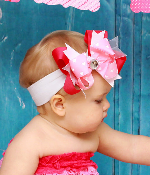 Stella Shocking Pink & Pink Hearts Girls Hair Bow Clip or Headband