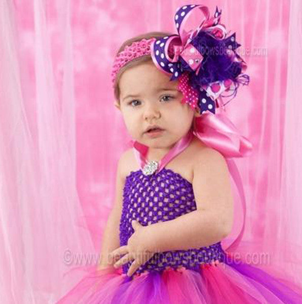 Fancy Purple and Hot Pink Baby Toddler Tutu Dress