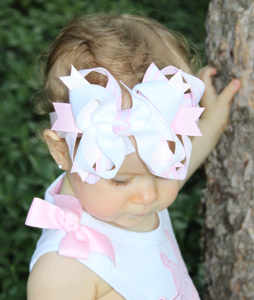 White and Blush Pink Hair Bow White Pale Pink Baby Headband
