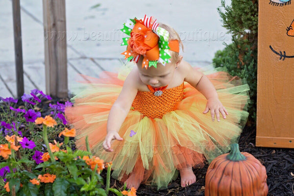 Orange and Green Pumpkin Baby Tutu Outfit