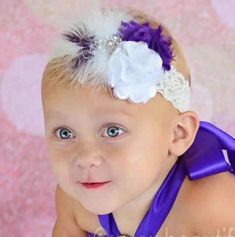 Shabby Purple and White Vintage Girls Lace Baby Headband