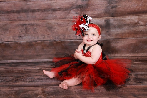 Fancy Red and Black Infant Baby Toddler Tulle Tutu Dress
