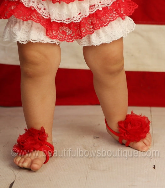 Buy Red Chiffon Fabric Barefoot Baby Flower Sandals Online