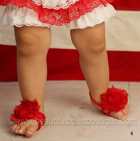 Red Chiffon Fabric Barefoot Baby Flower Sandals