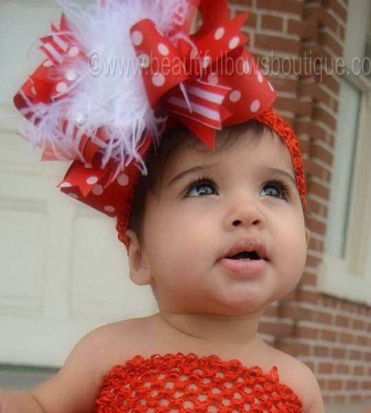 Red White Stripes Over the Top Hair Bow or Baby Headband