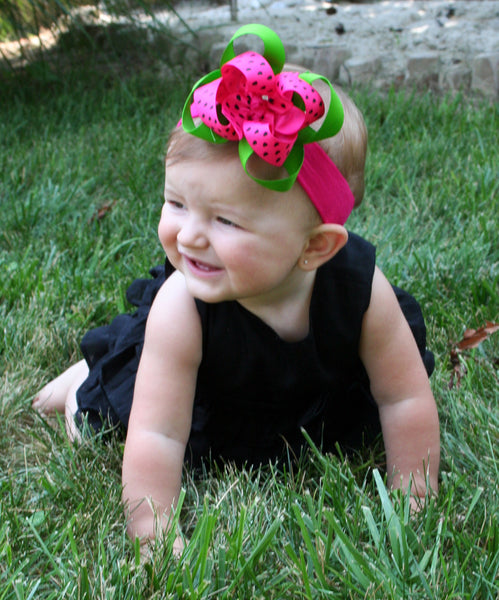 Green Pink Watermelon Baby Toddler Bow Headband