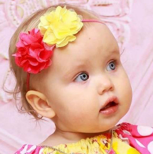 Hot Pink Yellow Fabric Flower Baby Headband-CHOOSE COLOR