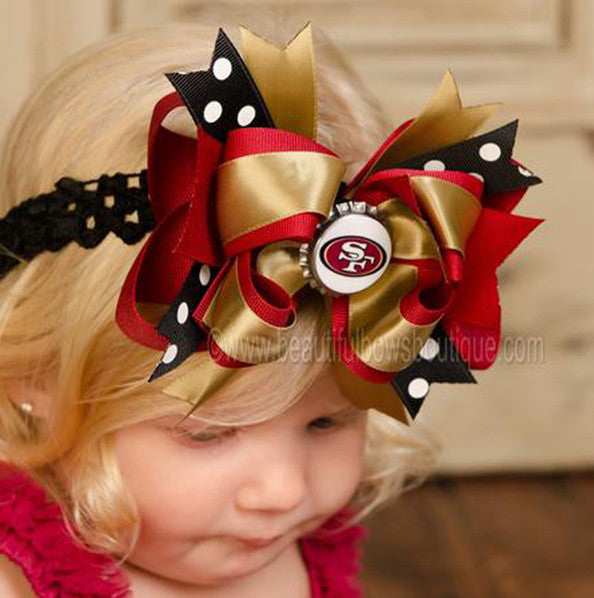 Fancy San Francisco 49ers NFL Hair Bow Clip or Baby Headband