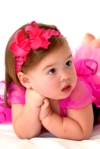 Dainty Hot Pink Layered Girls Hair Bow Clip or Headband Set